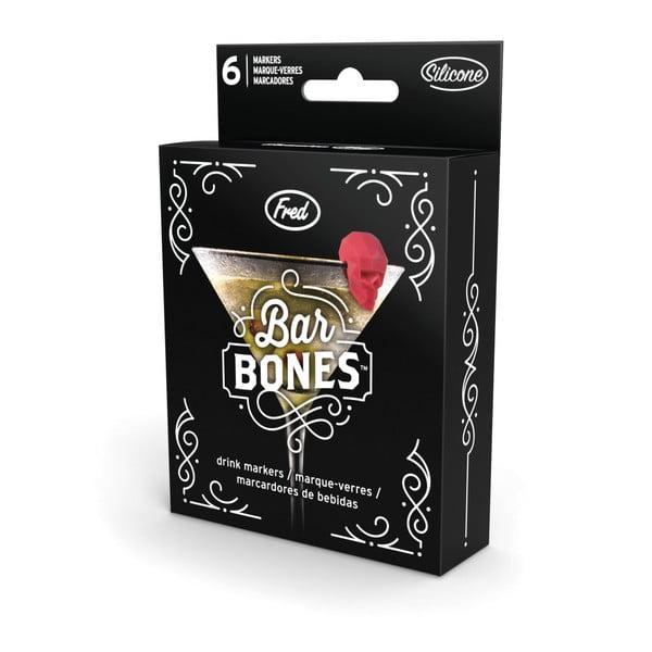 Sada 6 rozlišovačov na pohár Fred & Friends Bar Bones