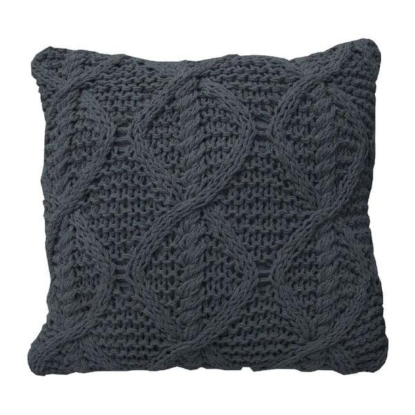 Antracitový pletený vankúš OVERSEAS, 45x45cm