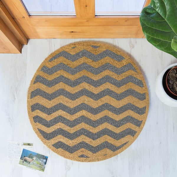 Guľatá rohožka Artsy Doormats Grey Chevron, ⌀ 70 cm