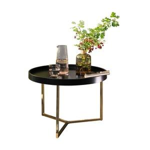 Čierny príručný stolík s nohami v zlatej farbe Skyport Wohnling Eva, 58,5 cm
