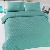 Zelený ľahký bavlnený pléd cez posteľ Green Pique, 200×240cm
