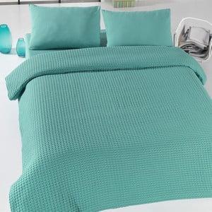 Zelený ľahký pléd cez posteľ Green Pique, 200x240cm