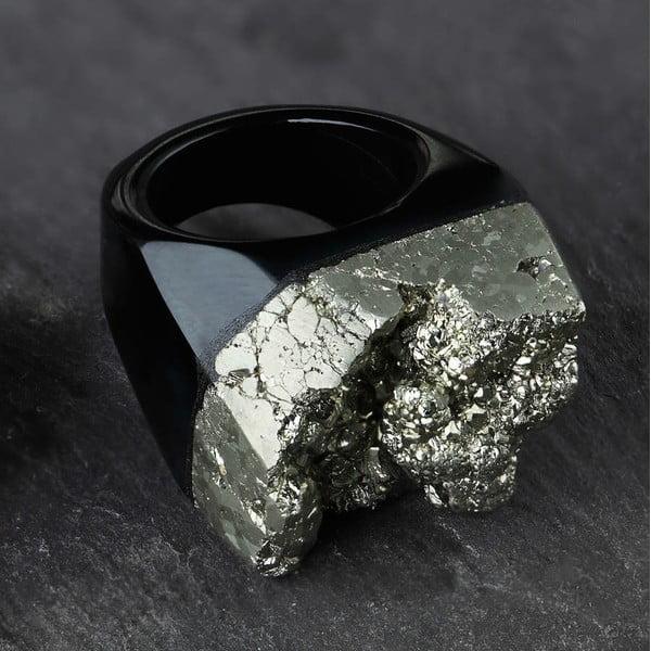 Prsteň z pyritu a achátu Decadorn, veľ. M