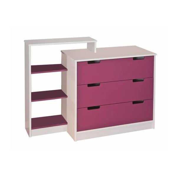 Ružovo-biela komoda s regálom 13Casa Up