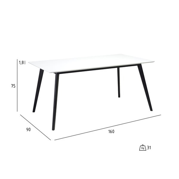 Biely jedálenský stôl s čiernymi nohami Furnhouse Life, 160 x 90 cm