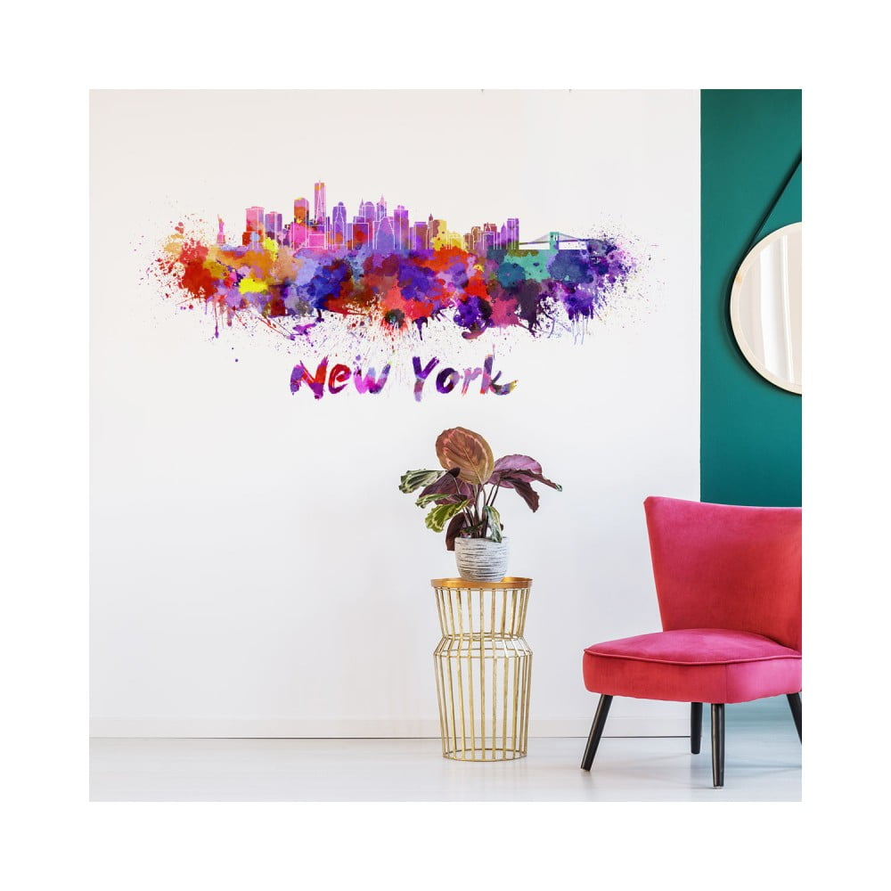 Nástenná samolepka Ambiance Wall Decal New York Design Watercolor, 40 × 95 cm