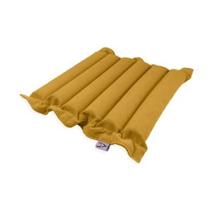 Tmavě žlutý sedací polštářek s masážními míčky Linda Vrňáková Waves, 50x50cm