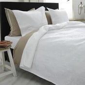 Biely pléd cez posteľ s dvomi obliečkami na vankúš Sleeptime Clara, 260 x 250 cm