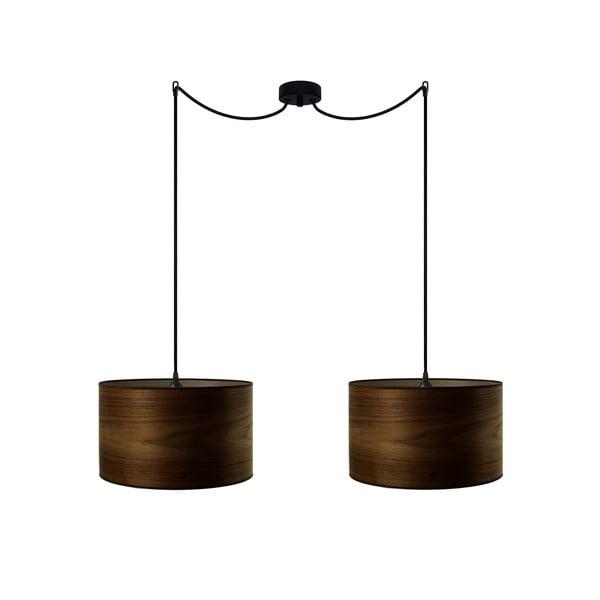 Dvojité závesné svietidlo z prírodnej dyhy vo farbe orechového dreva Sotto Luce TSURI