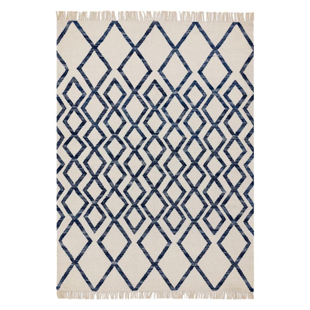 Béžovo-modrý koberec Asiatic Carpets Hackney Diamond, 120 x 170 cm