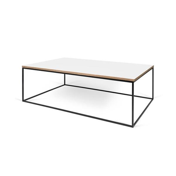 Biely konferenčný stolík s čiernymi nohami TemaHome Gleam, 120cm