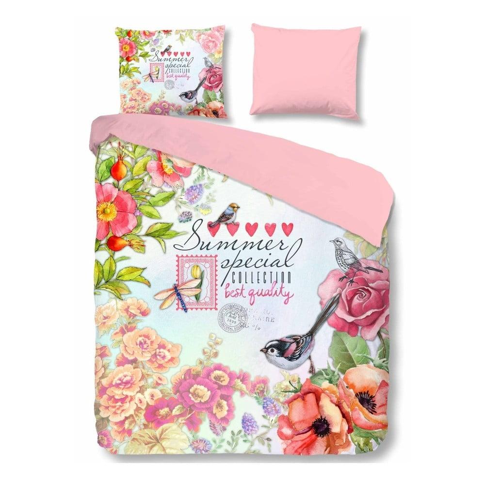 Ružové bavlnené obliečky na jednolôžko Muller Textiels Simone, 140 × 200 cm