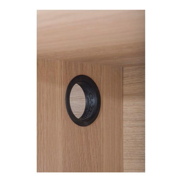 Nízka TV komoda z dubového dreva s 2 čiernymi zásuvkami Gazzda Fina