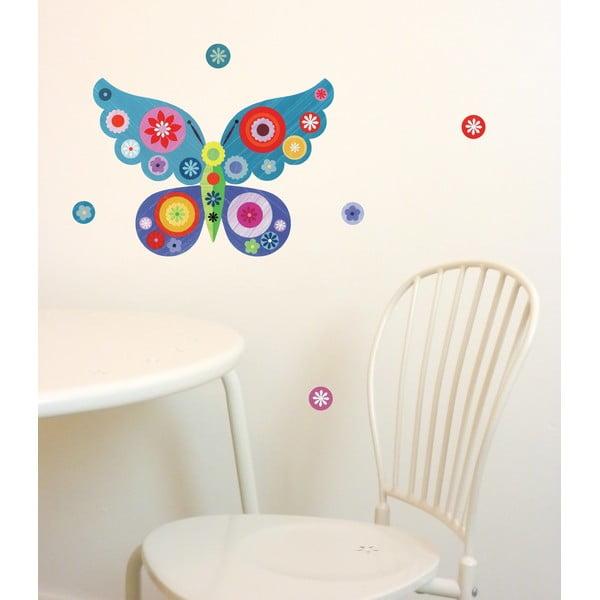 Samolepka na viac použití Butterfly Mini Blue, 30x21 cm