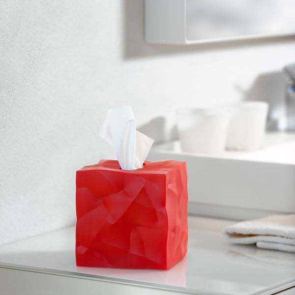 Červený box na vreckovky Essey Wipy Cube