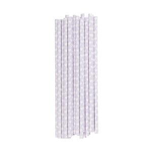 Balenie 25 papierových slamiek Miss Étoile Lavender Hearts