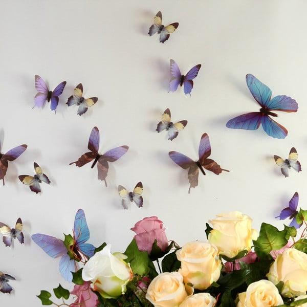Trojrozmerné samolepky motýlikov, farba modrá