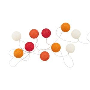 Oranžovo-červená svetelná reťaz s 10 guľami Butlers In the Mood, dĺžka 3 m