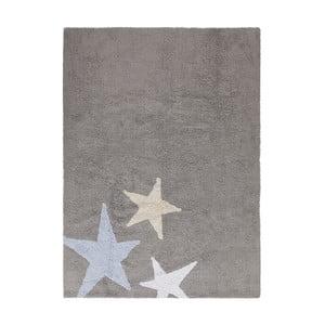 Sivý bavlnený ručne vyrobený koberec s modrou hviezdou Lorena Canals Three Stars, 120 x 160 cm