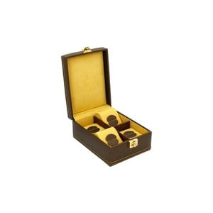 Čokoládovo hnedý box na štvoro hodiniek Carbon