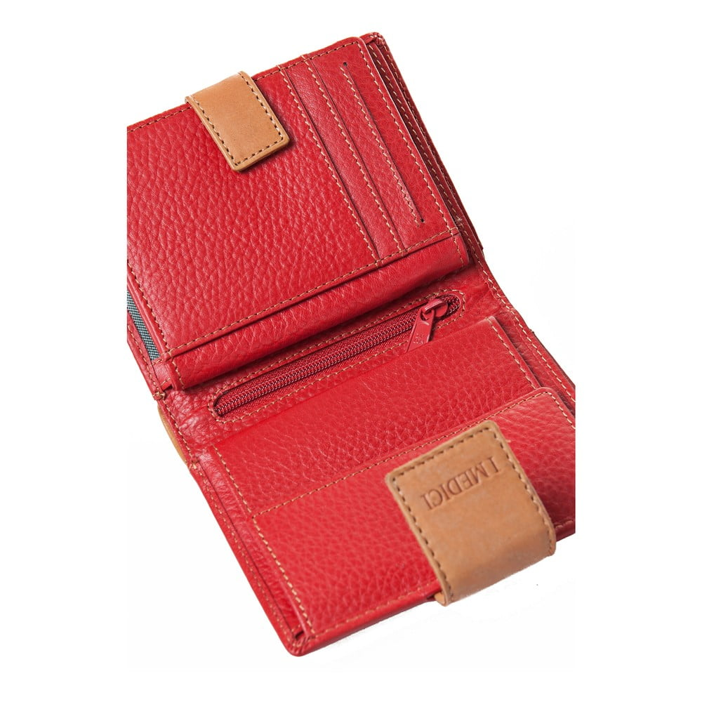 a55fcf4a49 ... Červená kožená dámska peňaženka Medici of Florence Sassonia ...
