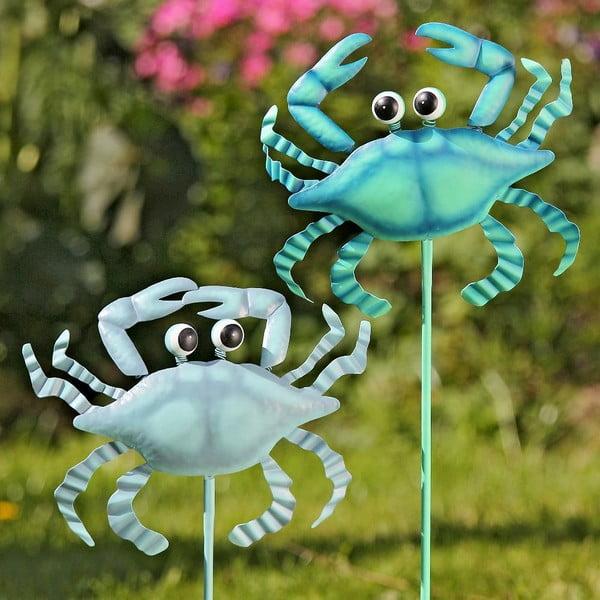 Sada 2 záhradných zapichovacích dekorácií Crab