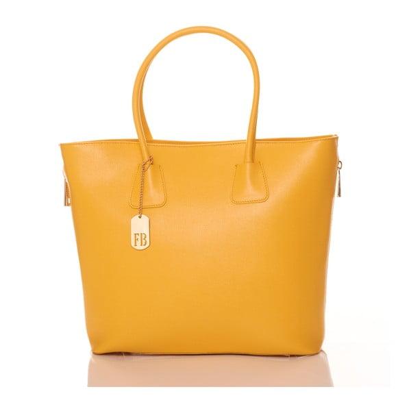 Žltá kožená kabelka Federica Bassi Saffiano