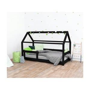 Čierna detská posteľ s bočnicami zo smrekového dreva Benlemi Tery, 120×200 cm