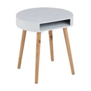 Biely odkladací stolík s priehradkou Actona Ela