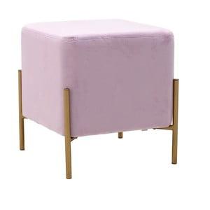 Ružová stolička so zamatovým poťahom InArt Metalo