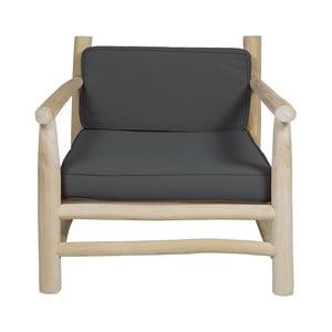 Sivé kreslo z teakového dreva Santiago Pons Capri