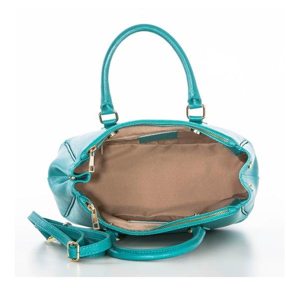 Tyrkysová kožená kabelka Federica Bassi Saffi