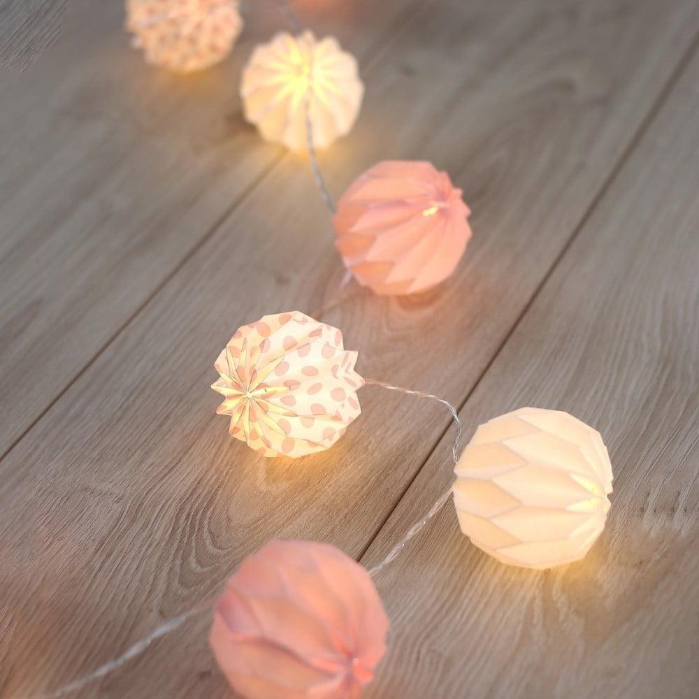 Transparentná LED svetelná reťaz DecoKing Pink, 10 svetielok, dĺžka 1,65 m