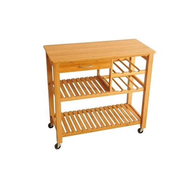Bambusový stolík na kolieskach, 82 cm