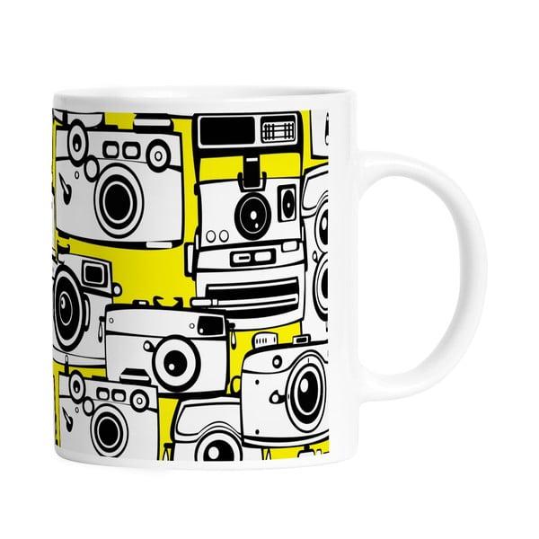 Keramický hrnček Yellow Cameras, 330 ml