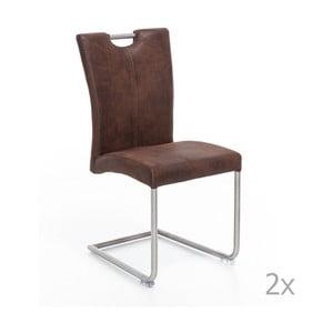 Sada 2 hnedých stoličiek Woodking Shot