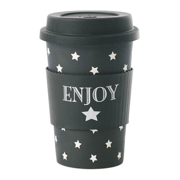Bambusový cestovný hrnček Enjoy Black Stars, 0,5 l