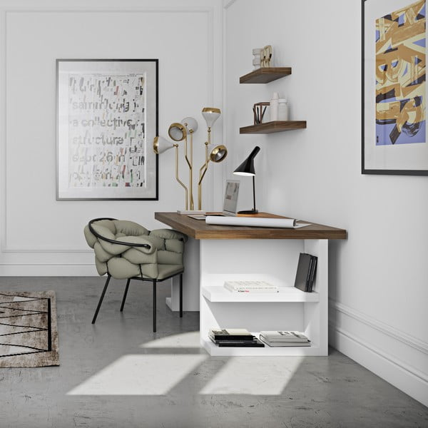 Hnedý pracovný stôl TemaHome Multi,160cm