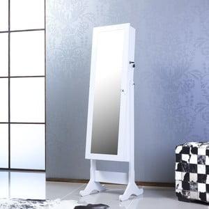 Uzamykateľné stojacie zrkadlo so šperkovnicou Emily, biele