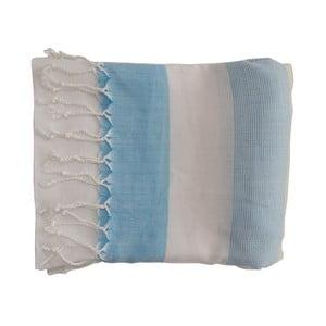 Modrá ručne tkaná osuška z prémiovej bavlny Gokku, 100×180 cm