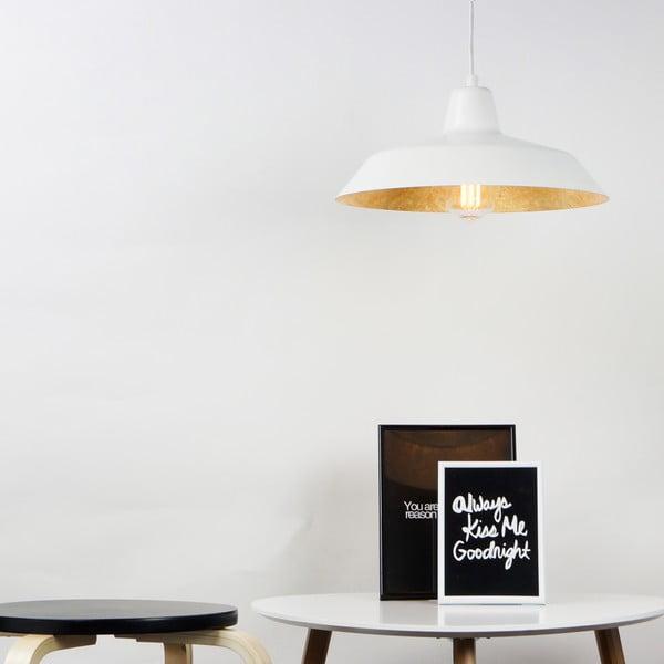 Biele stropné svietidlo s detailom v zlatej farbe Bulb Attack Cinco