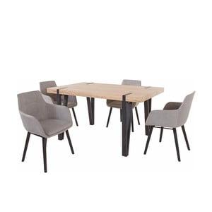 Set jedálenského stola a 4 svetlosivých jedálenských stoličiek Støraa Shelia Buckley