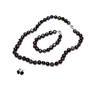 Sada náhrdelníka, náušníc a náramku z riečnych perál GemSeller Sericea, čierne perly