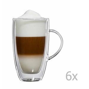 Sada 6 sklenených hrnčekov na latte macchiato s uškom bloomix Verona