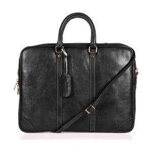 Čierna kožená taška cez rameno Italia in Progress Donatello