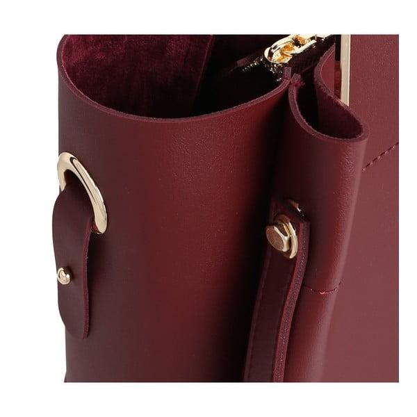 Tmavočervená kabelka z eko kože Beverly Hills Polo Club Amy