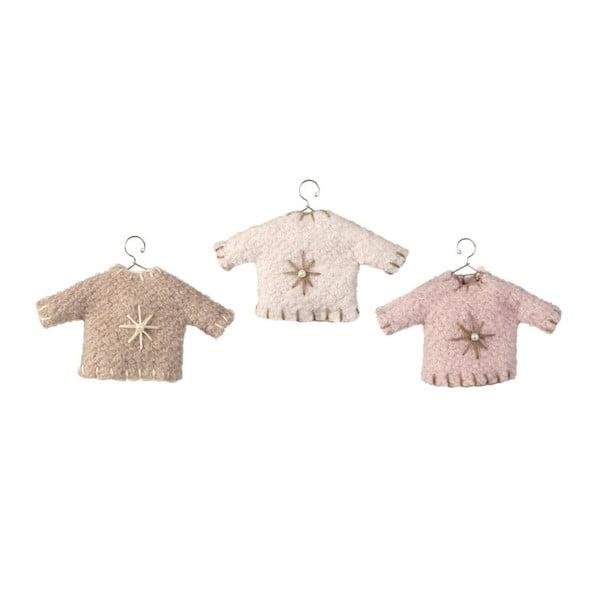 Sada 3 závesných dekorácií Sweater Pink