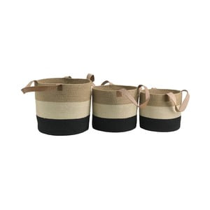 Sada 3 úložných košíkov z juty Moycor Tricolor Basket