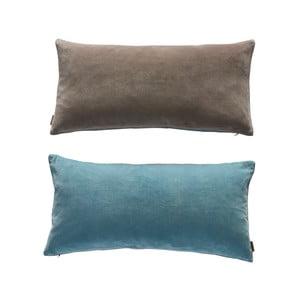 Modro-sivý obojstranný bavlnený vankúš OYOY Lia