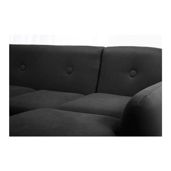 Pohovka Stella Black s leňoškou na pravej strane